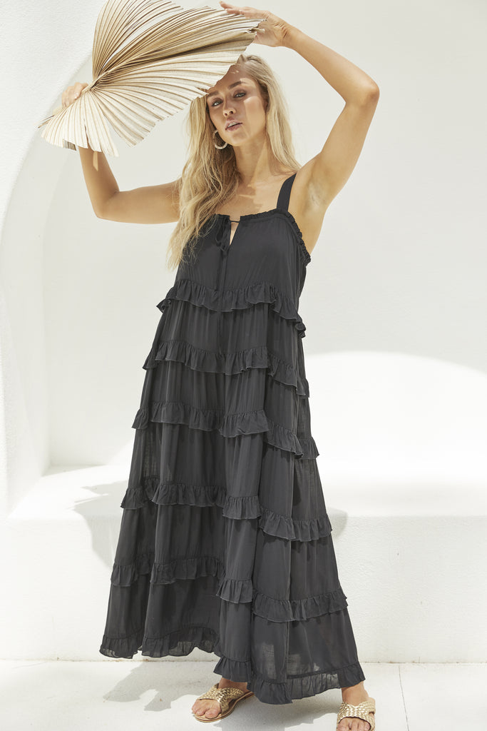 Haven Havana Frill Maxi Black Boho Fashion