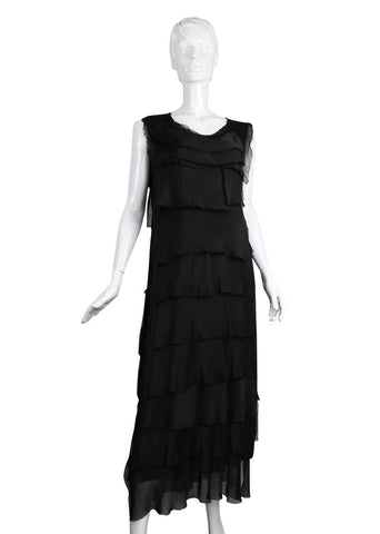 Imagine - Black Kitty Flapper Dress Silk Ruffle Layers 10IM2031BK