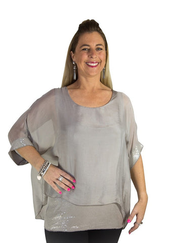 Imagine - Mocha Top Silk w Sequins 10IM2161M