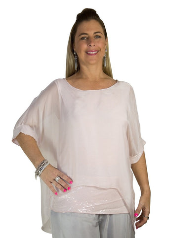 Imagine - Pink Mimi Top Silk w Sequins 10IM2161P