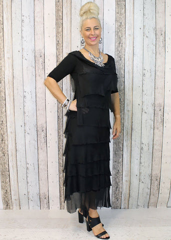 Imagine - Black Flapper Charisse Dress Silk Ruffle Layers 10IM2737BK