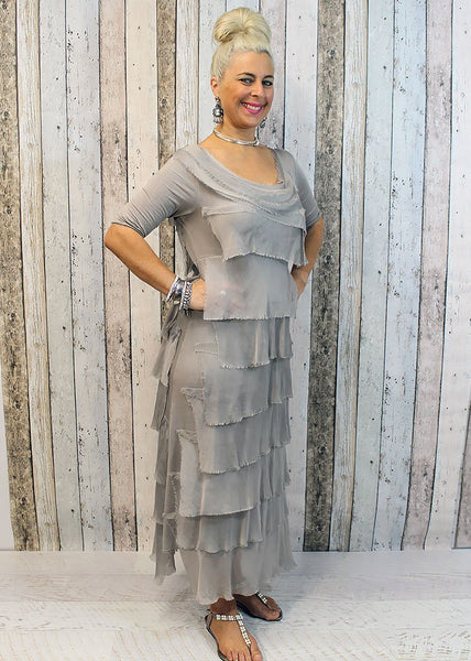 Imagine - Mocha Flapper Charisse Dress Silk Ruffle Layers 10IM2737M