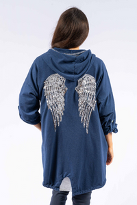 The Italian Closet - Navy Angel Wing Hoodie Ali 1739