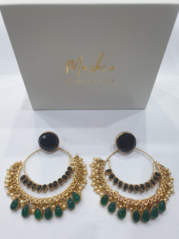 Meshca - Mira Earrings - Green Onyx