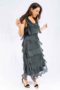 Charcoal The Italian Closet - Charcoal Natalia Cut Silk Dress