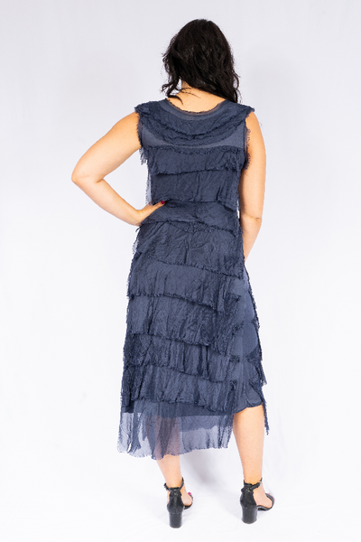 The Italian Closet - Navy or Black Natalia Cut Silk Dress 2031N