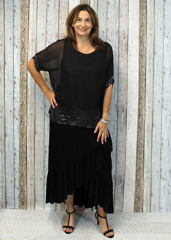 Imagine - Black Mimi Top Silk w Sequins 10IM2161B