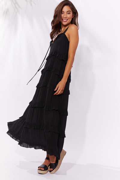 Haven - Havana Frill Maxi - Black