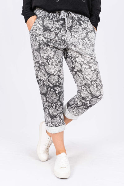 The Italian Closet - Black Monstera Printed Denim Jegging Aurelia