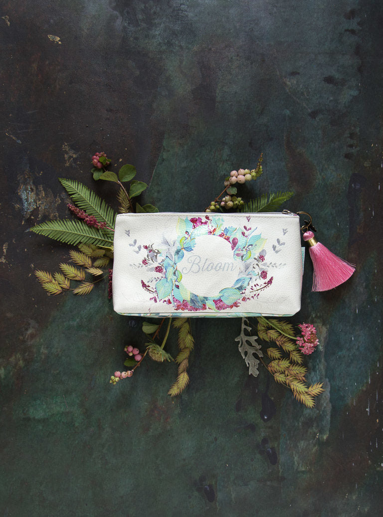 Papaya Art Blooms Small Tassel Pouch