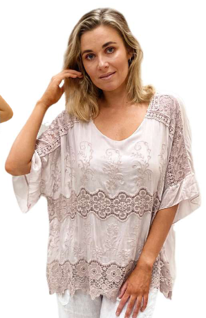 Jenny Jazz - White, Pink Rose, Beige or Black Bianca Silk Blend Top
