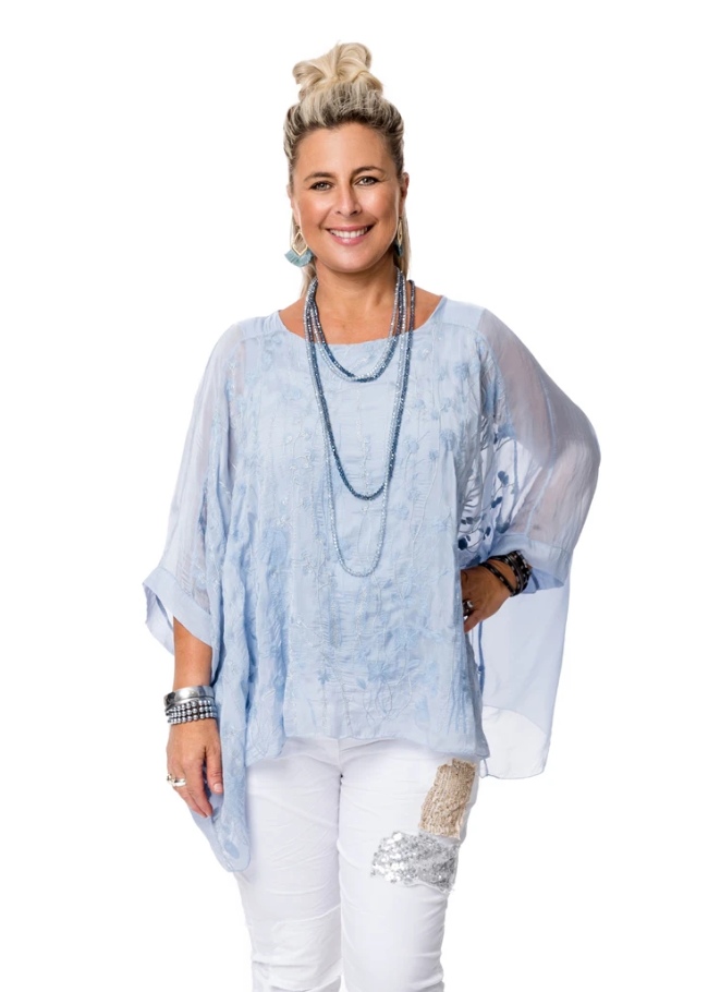 Imagine - Baby Blue Silk Delilah Top 10IM2248