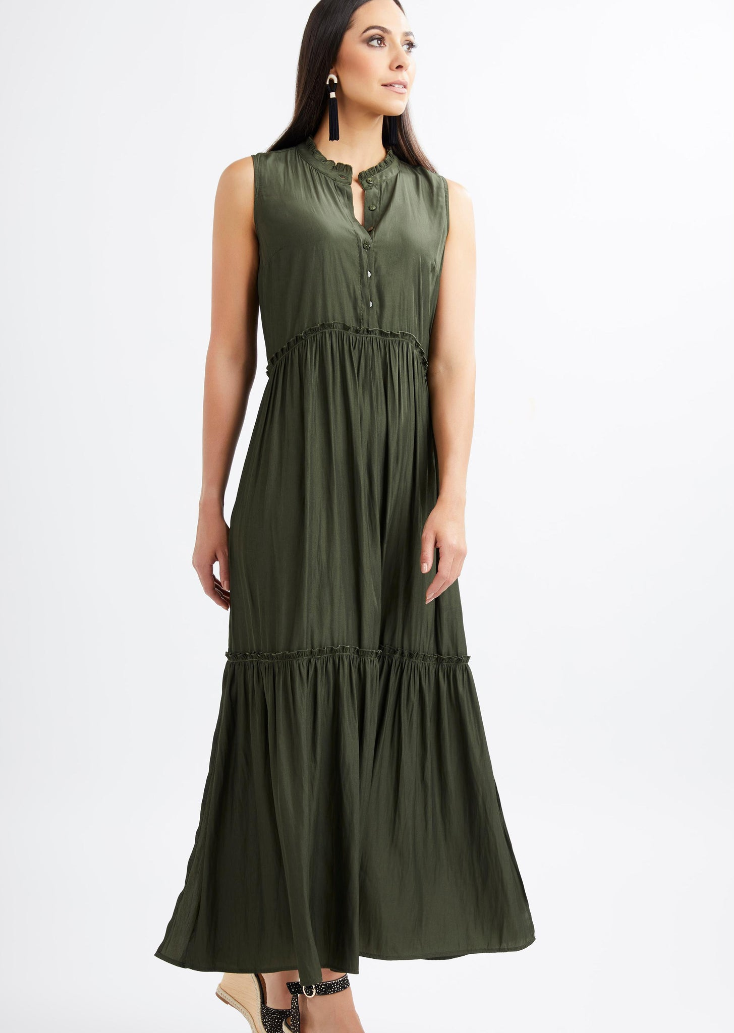 Foil - Kill Me Soft Tier Dress - Olive