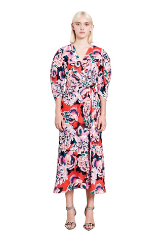 Ginger & Smart - Flourish Linen Wrap Dress - Red