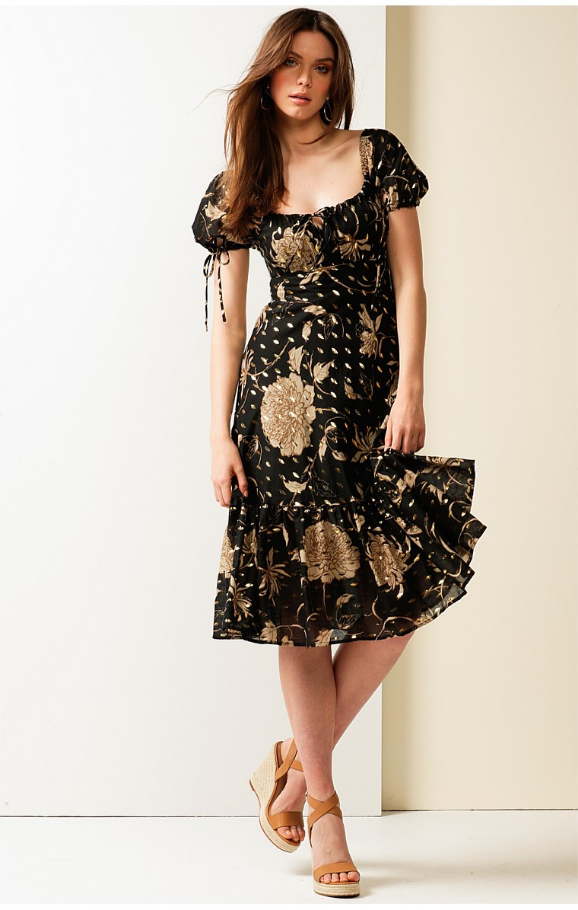 Sacha Drake - HOTEL DE PARIS PUFF CAP SLEEVE A-LINE KNEE-LENGTH COTTON DRESS IN BLACK GOLD LEAF PRINT