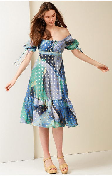 Sacha Drake - HOTEL DE PARIS PUFF CAP SLEEVE A-LINE KNEE-LENGTH COTTON DRESS IN BLUE SEA LEAF PRINT