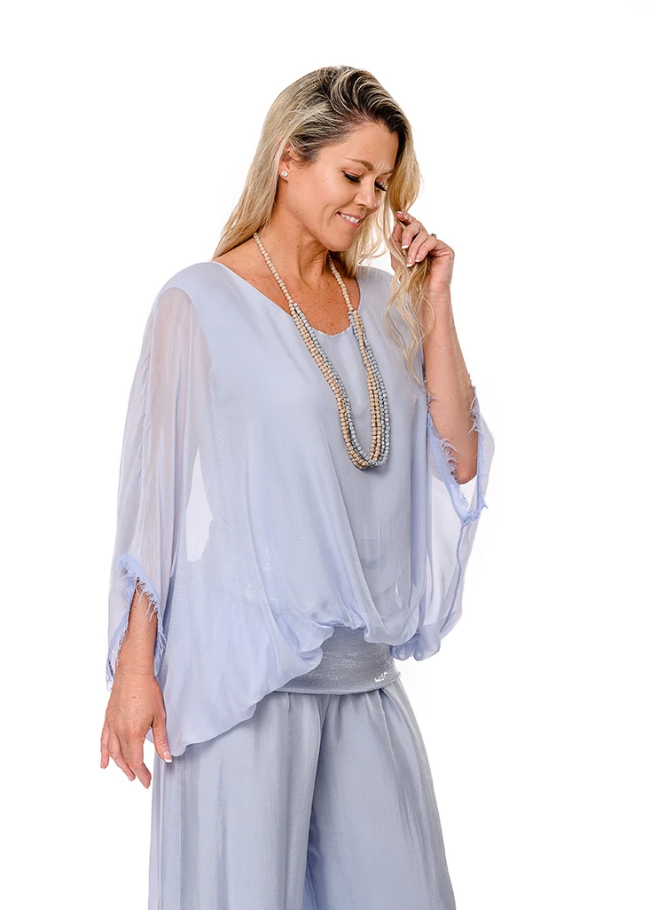 Imagine - Baby Blue Marcella Sequin Silk Top 10IM3014