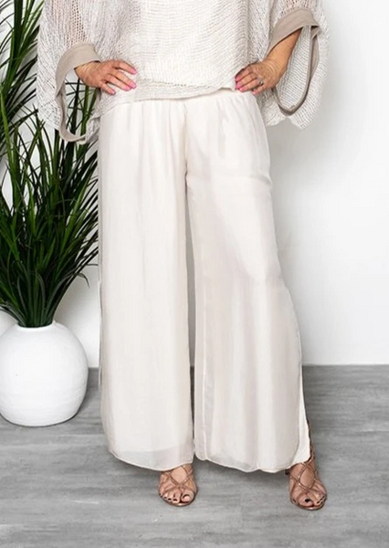 Imagine - Champagne Taupe Gia Silk Pant with Split 10IM2184