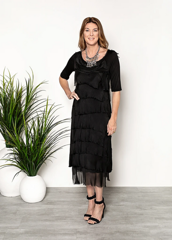 Imagine - Black Flapper Charisse Dress Silk Ruffle Layers 10IMH2737BK