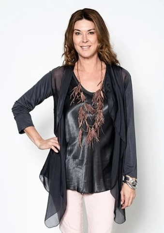 Imagine - Granite Meryl Silk Blend Long Cardigan 73IMH5740