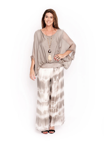 Imagine - Mocha Marcella Sequin Silk Top 10IM3014