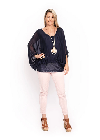 Imagine - Navy Marcella Sequin Silk Top 10IM3014