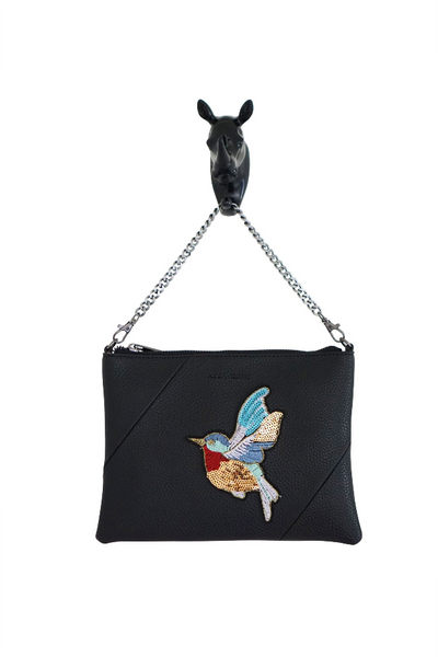 Kesa + Konc - Zalia Bird Clutch Bag - Black