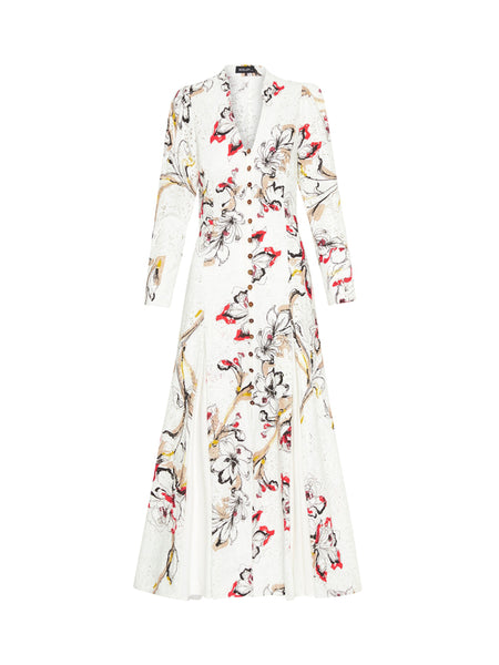 Moss & Spy - Louise Button Dress White Multi