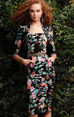 Sacha Drake - Beatrice Dress - Black Multi Floral BEATRICE FITTED 3/4 SLEEVE STRETCH SQUARE-NECK KNEE LENGTH DRESS IN BLACK MULTI FLORAL