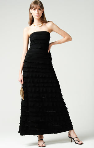 Sacha Drake Maddison Maxi Ruffle Dress - Black