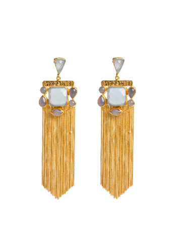 Meshca - Lyra Earrings - Blue Chalcedony