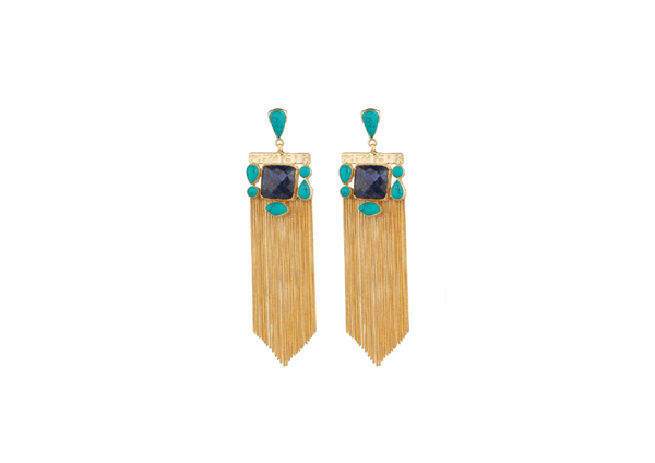 Meshca - Lyra Earrings - Turquoise & Lapis