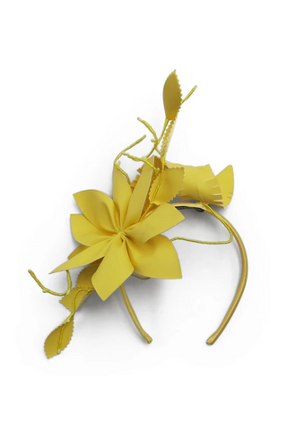 Morgan & Taylor - Yellow Paris Fascinator Flowers & Leaves FS361