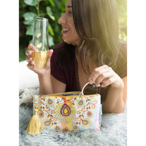 Papaya Art Morrocan Peacock Small Tassel Pouch
