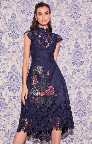 Moss & Spy Charlotte Dress Navy Floral
