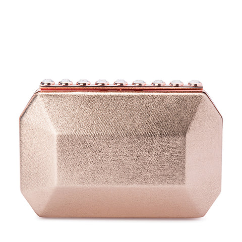 Olga Berg - Rose Gold TABITHA Metallic Crystal Look Clutch OB4726