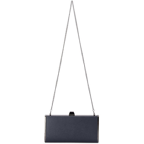 Olga Berg - Navy XANDER Saffiano Tear Drop Clutch OB4731