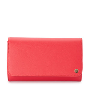 Olga Berg - Orange Tangerine Annabelle Saffiano Fold Over Clutch OB4733