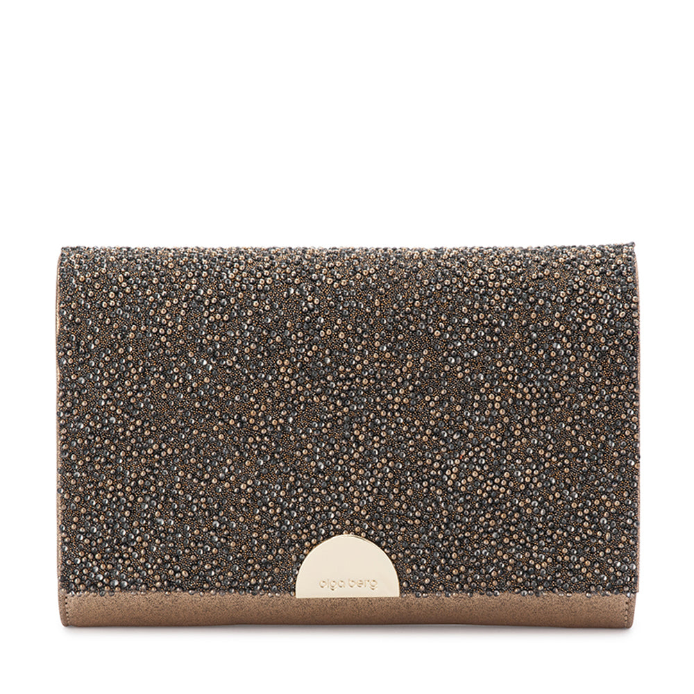 Olga Berg - Gold DOLCE Embellished Fold Over Clutch OB6352 Old Gold