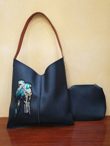 Kesa + Konc - Talin Parrot Tote Bag - Black