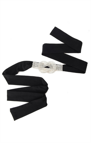 Sacha Drake Diamante Tie Belt - Black