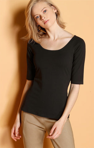 Sacha Drake 3/4 Sleeve Top - Black REVERSIBLE STRETCHY JERSEY TOP IN BLACK