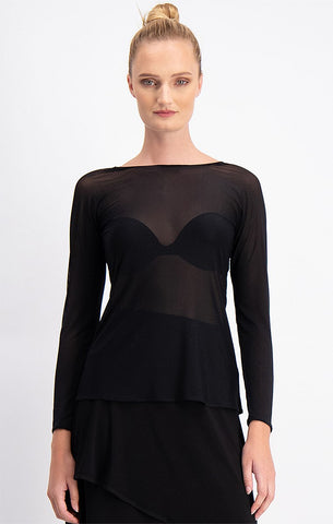 Sacha Drake Mesh Top - Black MESH LONG SLEEVE TOP IN BLACK