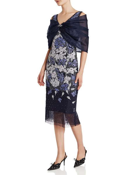 Moss & Spy - Silk Organza Wrap - Navy