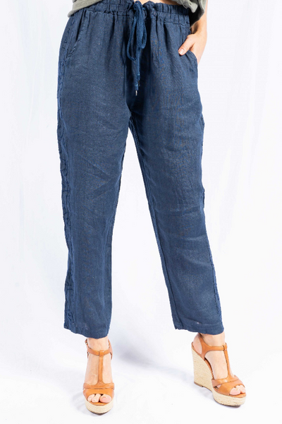 The Italian Closet - Navy Mariona Tapered Linen Trouser Embroidered Panel