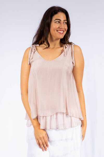 The Italian Closet - Pink Silk Top with Tie Straps Claviere