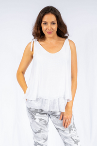 The Italian Closet - White Silk Top with Tie Straps Claviere