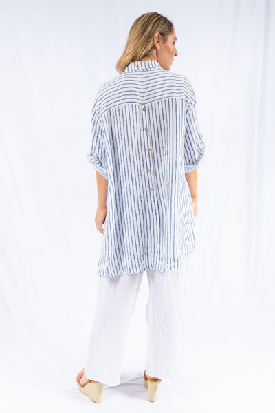 The Italian Closet - White Campi Linen Striped Shirt with Button back