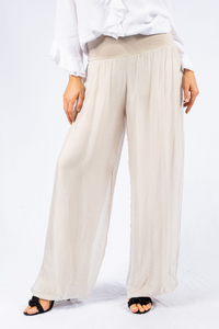 The Italian Closet - Beige Silk Lined Straight Pant Faustina