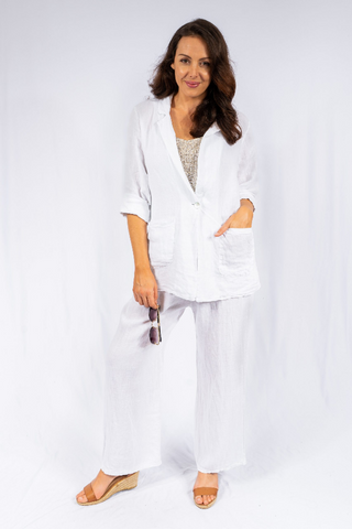 The Italian Closet - Riva White 2 Piece Linen Suit